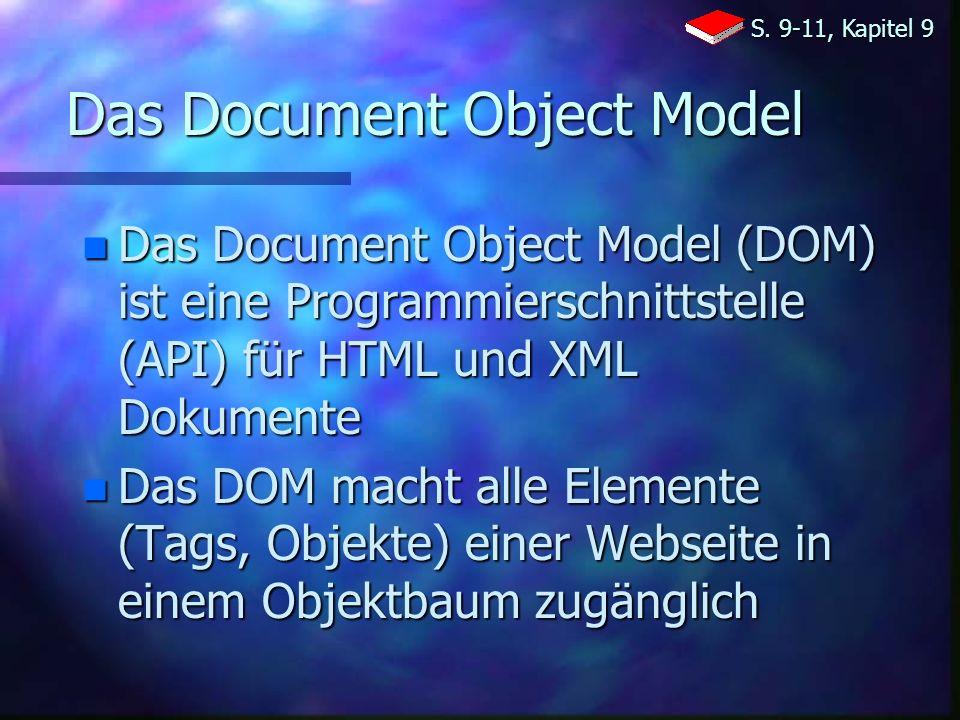 Das Document Object Model n Das Document Object Model (DOM) ist eine Programmierschnittstelle (API) für HTML und XML Dokumente n Das DOM macht alle Elemente (Tags, Objekte) einer Webseite in einem Objektbaum zugänglich S.