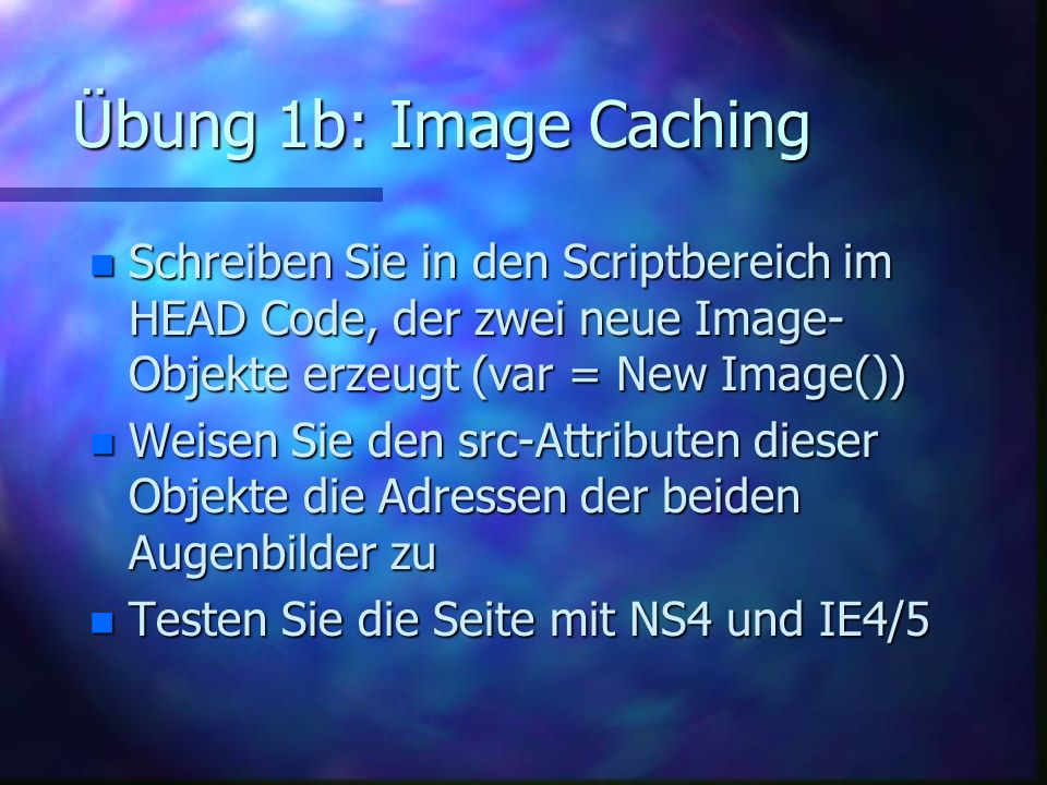 Die 4 Grundbausteine von DHTML n HTML –http://www.w3.org/MarkUp/ n JavaScript –http://www.ecma.ch/stand/ECMA-262.htm http://www.ecma.ch/stand/ECMA-262.htm –http://developer.netscape.com/docs/manuals/js/client/jsref/ http://developer.netscape.com/docs/manuals/js/client/jsref/ –http://msdn.microsoft.com/scripting/jscript/doc/jstoc.htm n Document Object Model DOM –http://w3.org/DOM http://w3.org/DOM n Cascading Style Sheets CSS –http://w3.org/Style/css http://w3.org/Style/css