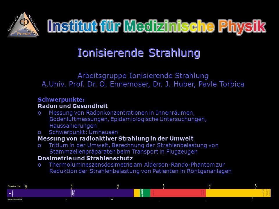 Arbeitsgruppe Ionisierende Strahlung A.Univ. Prof. Dr. O. Ennemoser, Dr. J. Huber, Pavle Torbica Schwerpunkte: Radon und Gesundheit o Messung von Rado