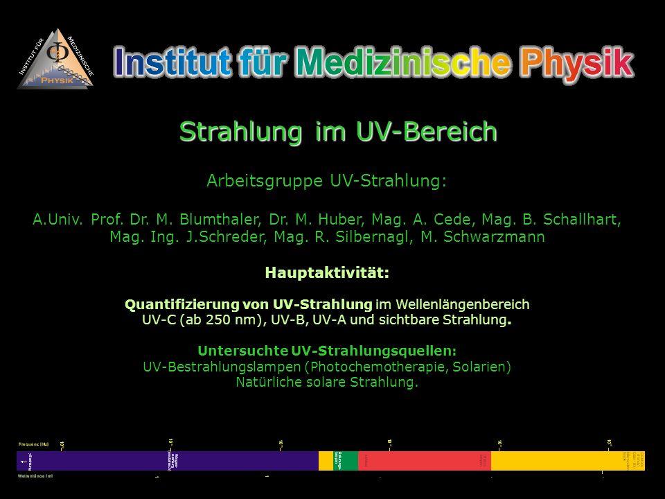 Arbeitsgruppe UV-Strahlung: A.Univ. Prof. Dr. M. Blumthaler, Dr. M. Huber, Mag. A. Cede, Mag. B. Schallhart, Mag. Ing. J.Schreder, Mag. R. Silbernagl,