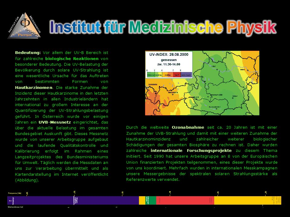 Bedeutung: Vor allem der UV-B Bereich ist für zahlreiche biologische Reaktionen von besonderer Bedeutung. Die UV-Belastung der Bevölkerung durch solar