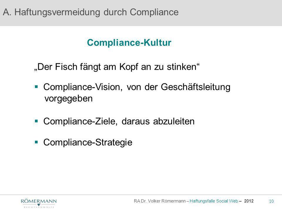 10 RA Dr. Volker Römermann – Haftungsfalle Social Web – 2012 Compliance-Kultur A. Haftungsvermeidung durch Compliance Der Fisch fängt am Kopf an zu st