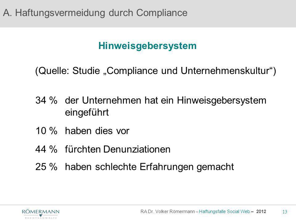 13 RA Dr.Volker Römermann – Haftungsfalle Social Web – 2012 Hinweisgebersystem A.