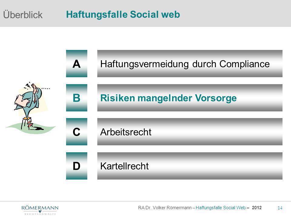 14 RA Dr. Volker Römermann – Haftungsfalle Social Web – 2012 A B Haftungsvermeidung durch Compliance Risiken mangelnder Vorsorge Arbeitsrecht Überblic