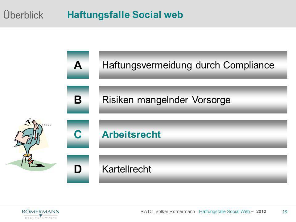 19 RA Dr. Volker Römermann – Haftungsfalle Social Web – 2012 A B Haftungsvermeidung durch Compliance Risiken mangelnder Vorsorge Arbeitsrecht Überblic