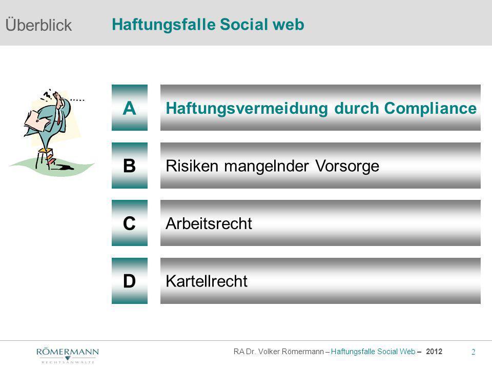 2 RA Dr. Volker Römermann – Haftungsfalle Social Web – 2012 A B Haftungsvermeidung durch Compliance Risiken mangelnder Vorsorge Arbeitsrecht Überblick