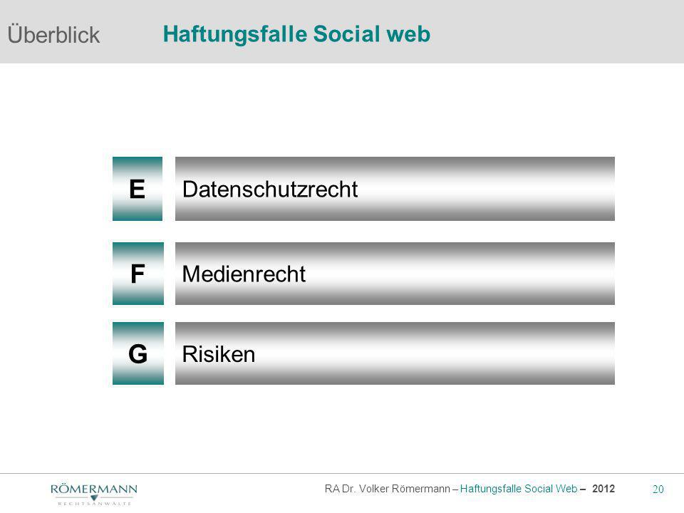 20 RA Dr. Volker Römermann – Haftungsfalle Social Web – 2012 F G Medienrecht Risiken Überblick Haftungsfalle Social web E Datenschutzrecht