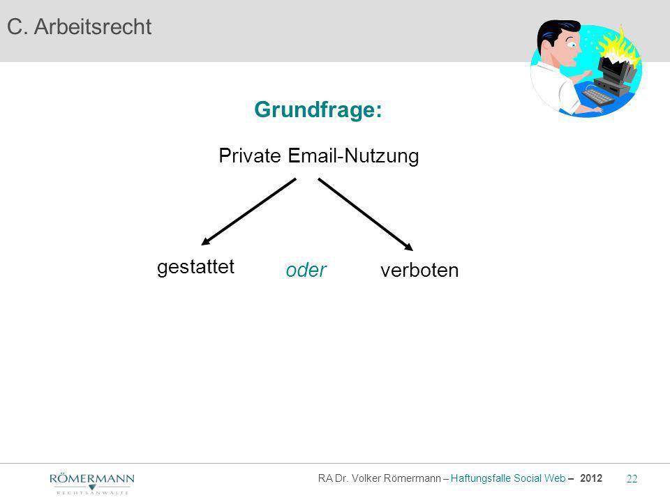 C. Arbeitsrecht gestattet oder Private Email-Nutzung Grundfrage: verboten RA Dr. Volker Römermann – Haftungsfalle Social Web – 2012 22