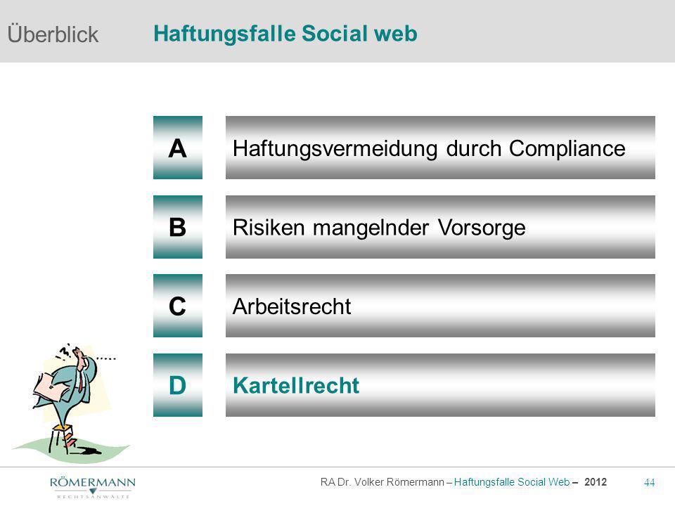 44 RA Dr. Volker Römermann – Haftungsfalle Social Web – 2012 A B Haftungsvermeidung durch Compliance Risiken mangelnder Vorsorge Arbeitsrecht Überblic