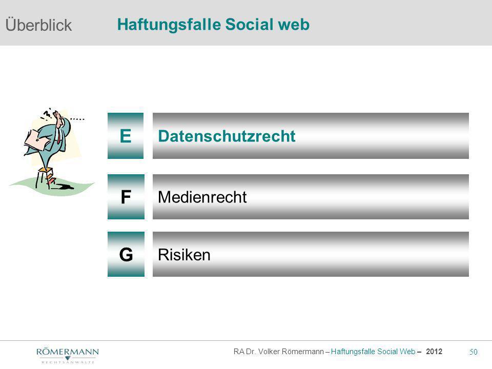 50 RA Dr. Volker Römermann – Haftungsfalle Social Web – 2012 F G Medienrecht Risiken Überblick Haftungsfalle Social web E Datenschutzrecht