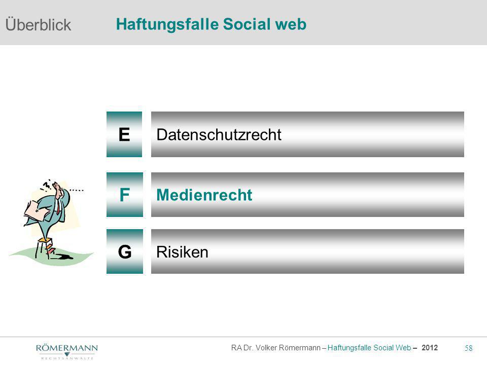 58 RA Dr. Volker Römermann – Haftungsfalle Social Web – 2012 F G Medienrecht Risiken Überblick Haftungsfalle Social web E Datenschutzrecht