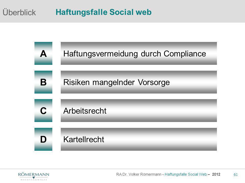 61 RA Dr. Volker Römermann – Haftungsfalle Social Web – 2012 A B Haftungsvermeidung durch Compliance Risiken mangelnder Vorsorge Arbeitsrecht Überblic