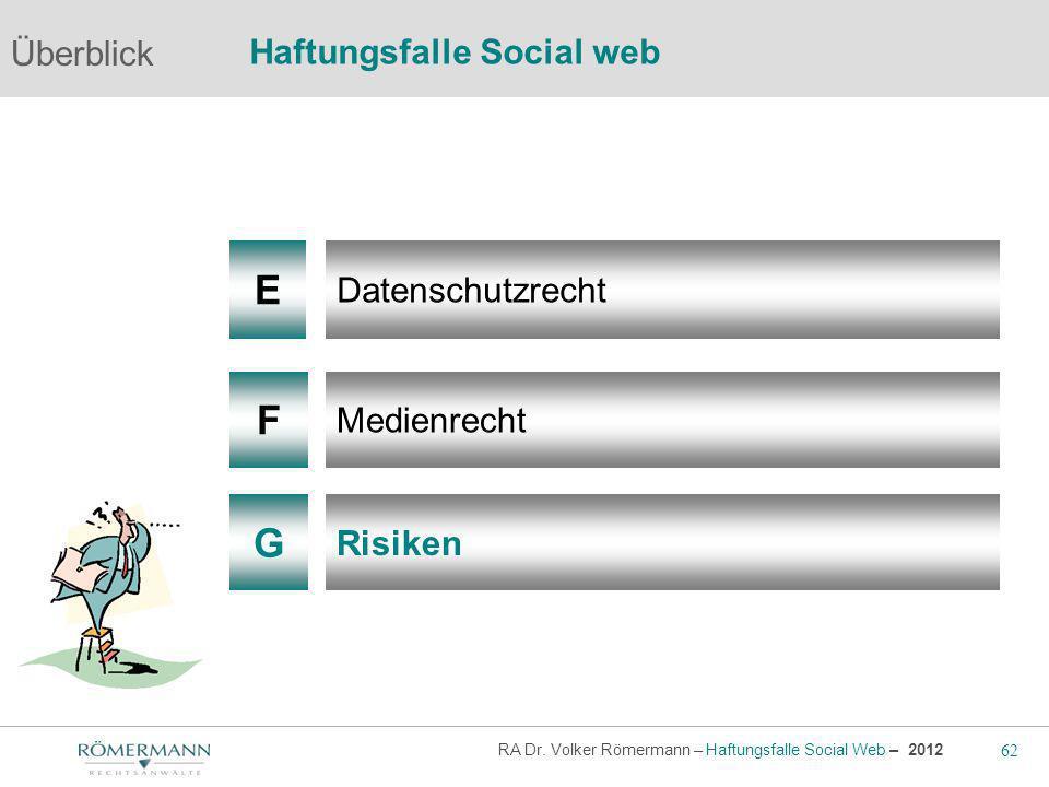 62 RA Dr. Volker Römermann – Haftungsfalle Social Web – 2012 F G Medienrecht Risiken Überblick Haftungsfalle Social web E Datenschutzrecht