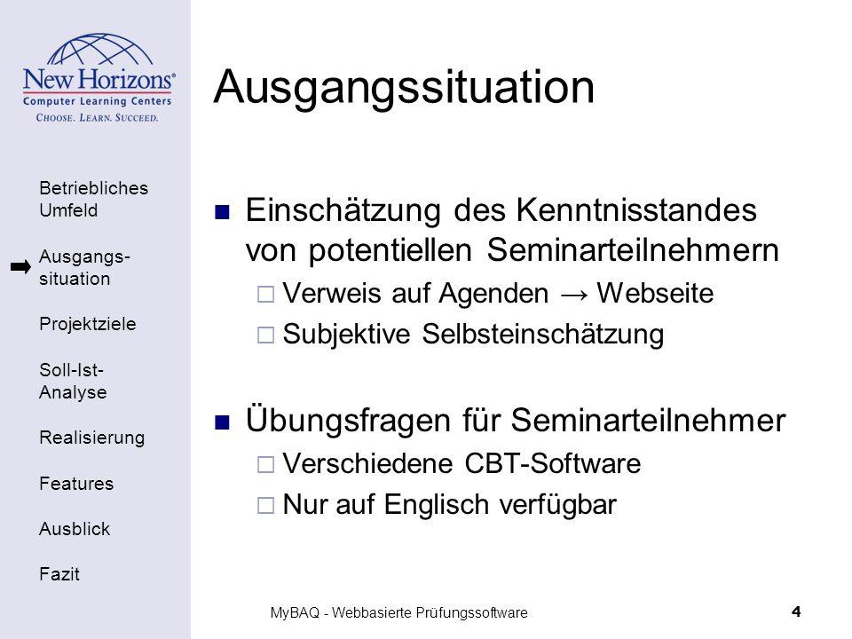 Betriebliches Umfeld Ausgangs- situation Projektziele Soll-Ist- Analyse Realisierung Features Ausblick Fazit MyBAQ - Webbasierte Prüfungssoftware4 Aus