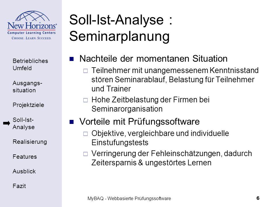 Betriebliches Umfeld Ausgangs- situation Projektziele Soll-Ist- Analyse Realisierung Features Ausblick Fazit MyBAQ - Webbasierte Prüfungssoftware6 Sol