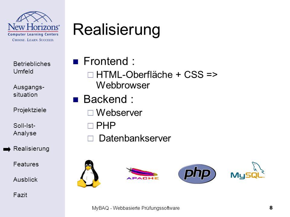 Betriebliches Umfeld Ausgangs- situation Projektziele Soll-Ist- Analyse Realisierung Features Ausblick Fazit MyBAQ - Webbasierte Prüfungssoftware9 Realisierung - Übersicht Server Webbrowser Client Webserver PHP MySQL HTTP
