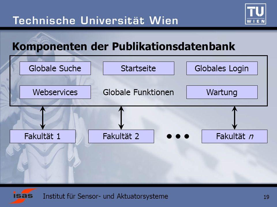 Institut für Sensor- und Aktuatorsysteme 19 Komponenten der Publikationsdatenbank Globale Funktionen Globale SucheStartseiteGlobales Login WebservicesWartung Fakultät 2Fakultät 1Fakultät n