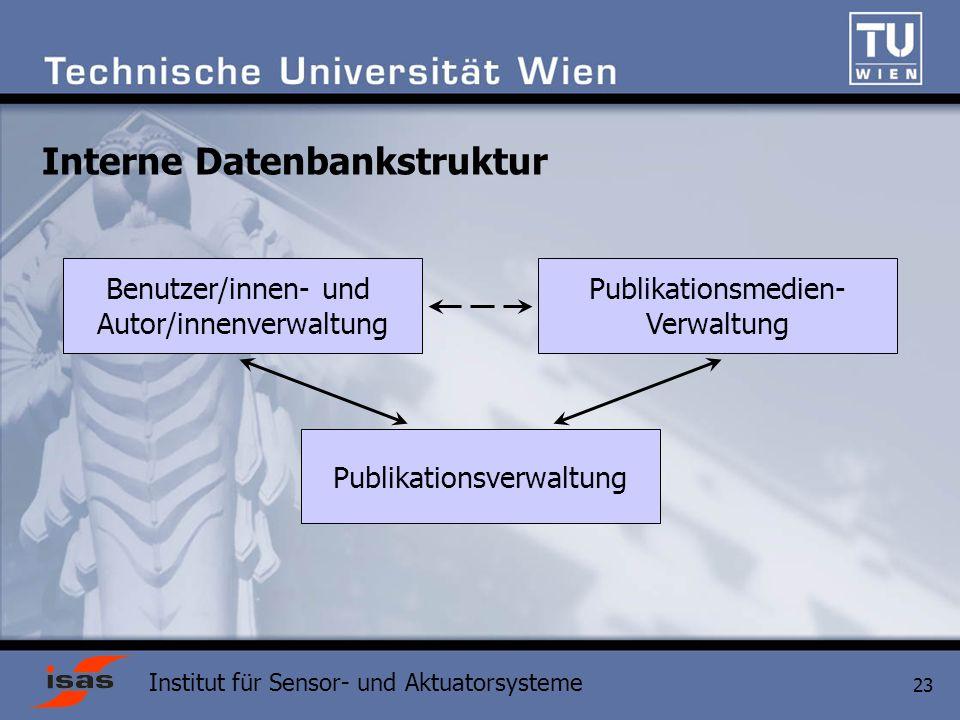Institut für Sensor- und Aktuatorsysteme 23 Interne Datenbankstruktur Publikationsverwaltung Benutzer/innen- und Autor/innenverwaltung Publikationsmedien- Verwaltung