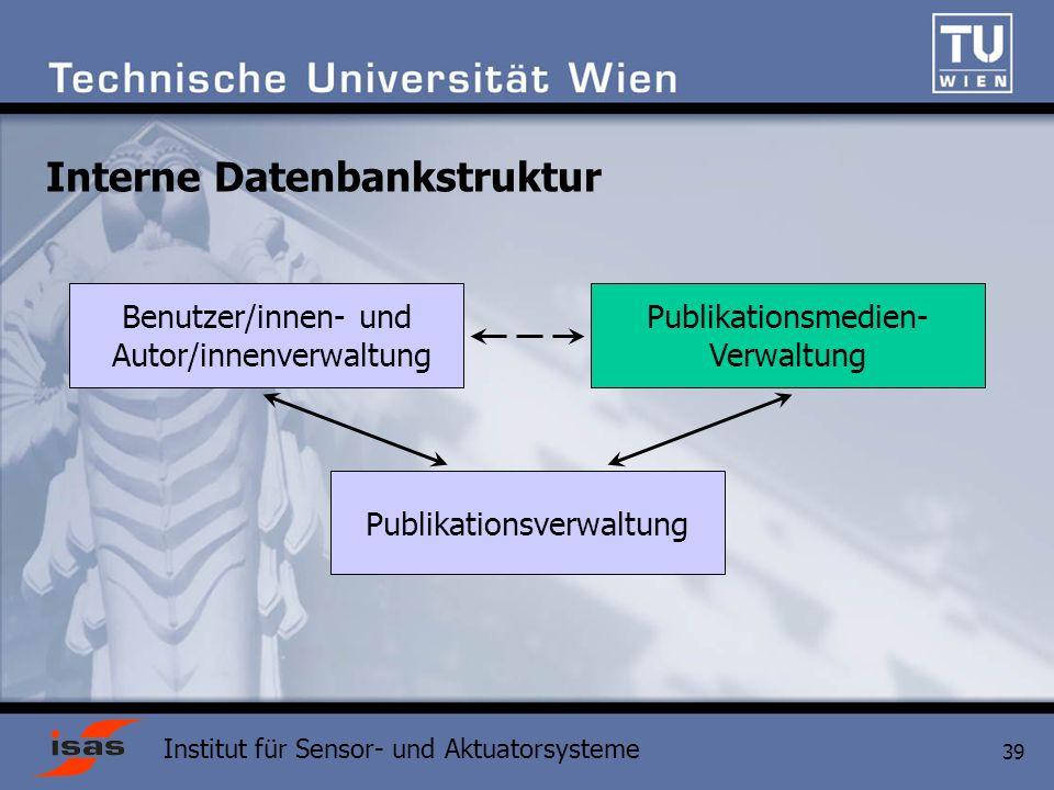 Institut für Sensor- und Aktuatorsysteme 39 Interne Datenbankstruktur Publikationsverwaltung Benutzer/innen- und Autor/innenverwaltung Publikationsmedien- Verwaltung
