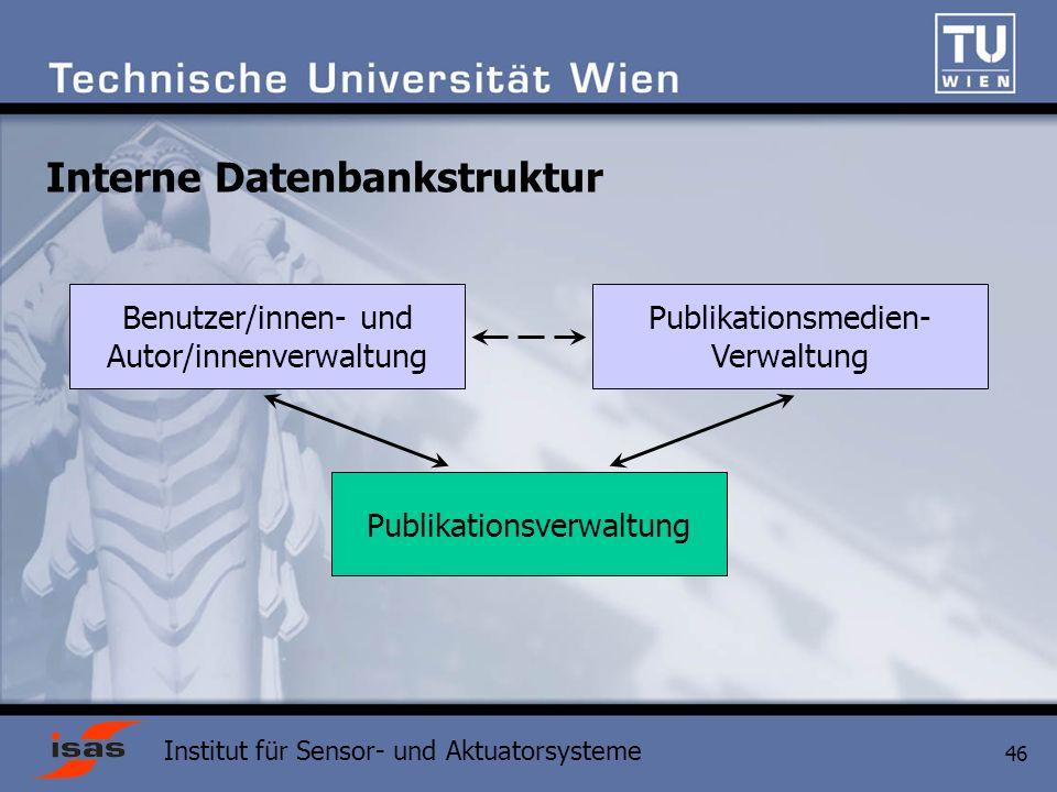 Institut für Sensor- und Aktuatorsysteme 46 Interne Datenbankstruktur Publikationsverwaltung Benutzer/innen- und Autor/innenverwaltung Publikationsmedien- Verwaltung