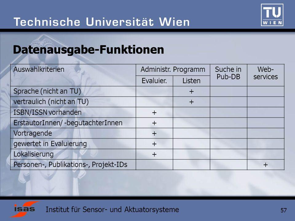 Institut für Sensor- und Aktuatorsysteme 57 AuswahlkriterienAdministr.