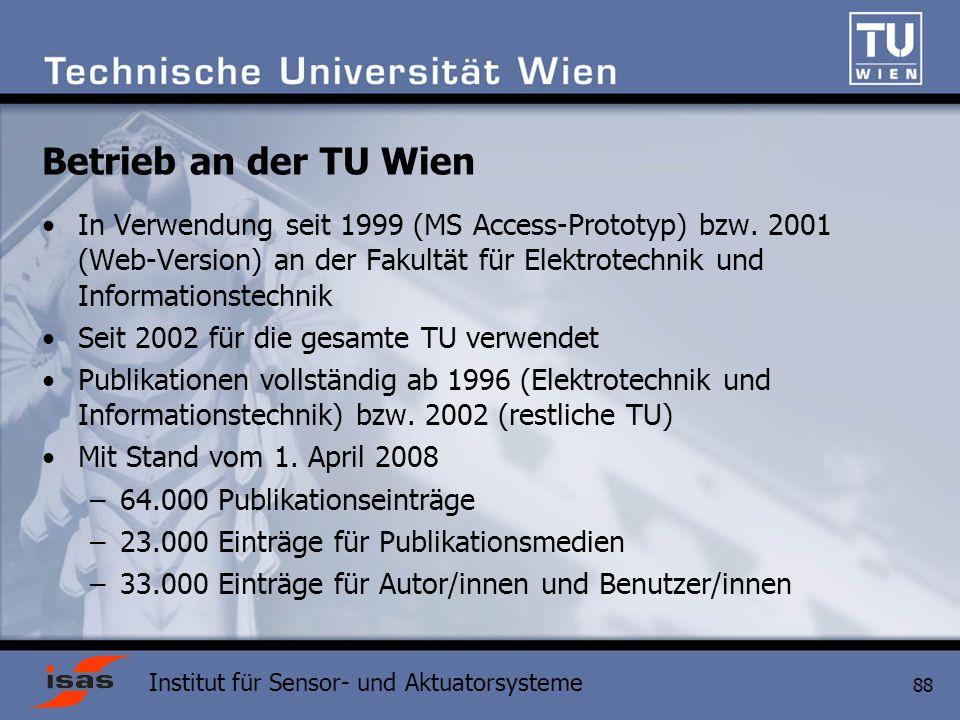 Institut für Sensor- und Aktuatorsysteme 88 Betrieb an der TU Wien In Verwendung seit 1999 (MS Access-Prototyp) bzw.