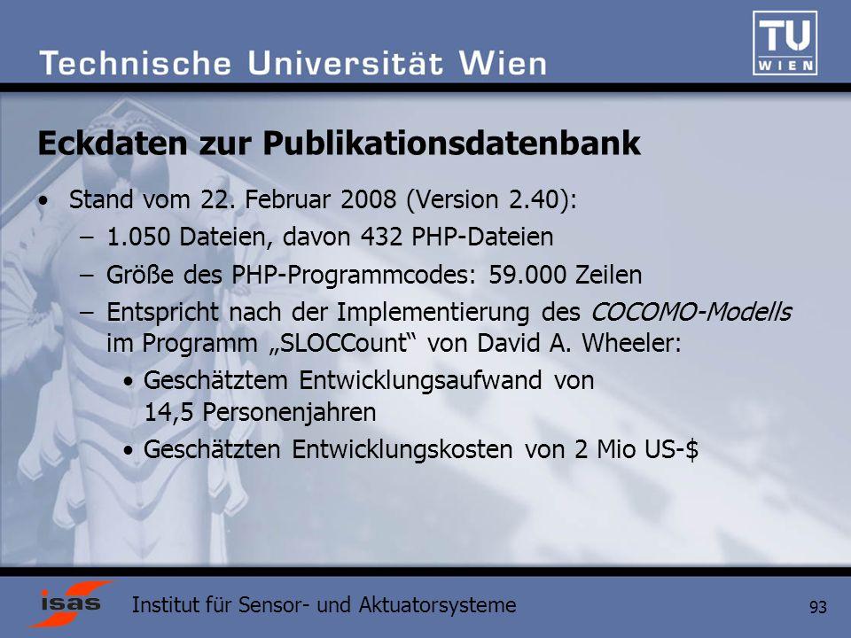 Institut für Sensor- und Aktuatorsysteme 93 Eckdaten zur Publikationsdatenbank Stand vom 22.