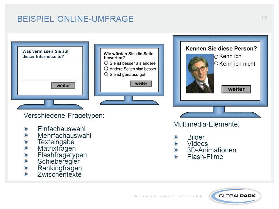13 BEISPIEL ONLINE-UMFRAGE Verschiedene Fragetypen: Einfachauswahl Mehrfachauswahl Texteingabe Matrixfragen Flashfragetypen Schieberegler Rankingfrage