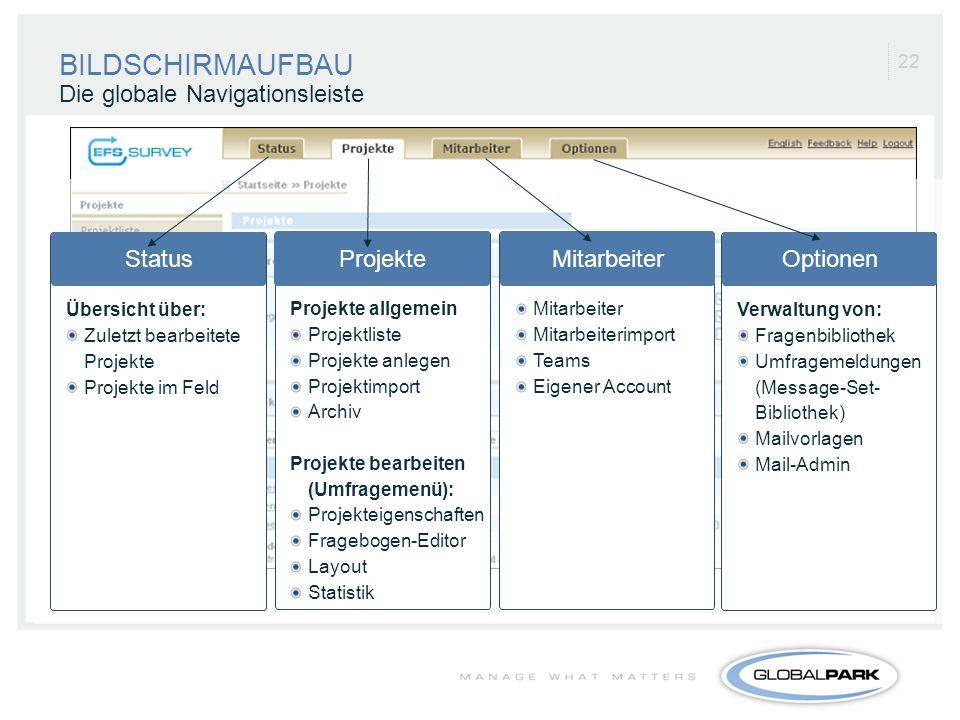 22 Die globale Navigationsleiste Projekte Projekte allgemein Projektliste Projekte anlegen Projektimport Archiv Projekte bearbeiten (Umfragemenü): Pro