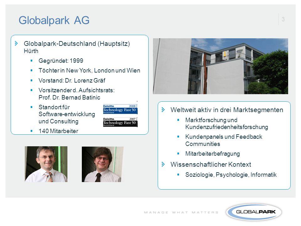 3 Globalpark AG Globalpark-Deutschland (Hauptsitz) Hürth Gegründet: 1999 Töchter in New York, London und Wien Vorstand: Dr. Lorenz Gräf Vorsitzender d