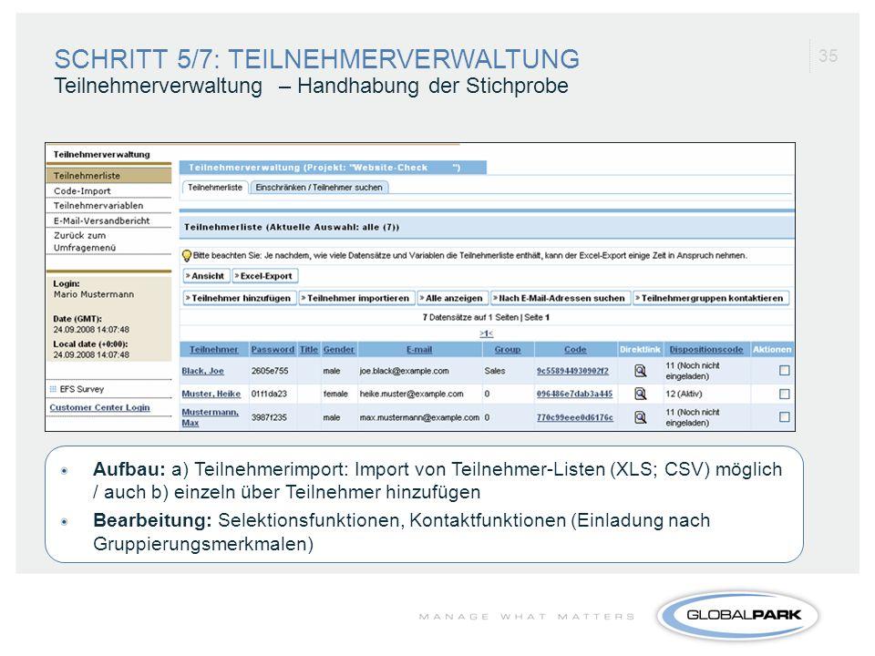 35 Aufbau: a) Teilnehmerimport: Import von Teilnehmer-Listen (XLS; CSV) möglich / auch b) einzeln über Teilnehmer hinzufügen Bearbeitung: Selektionsfu