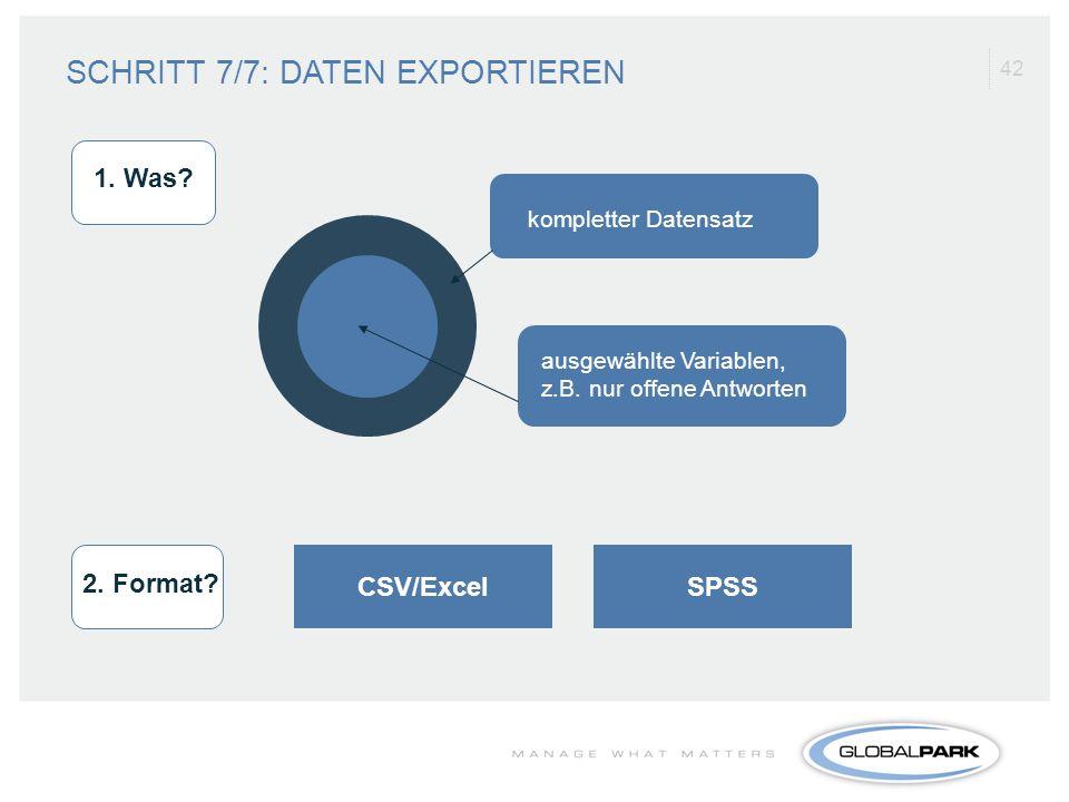 42 SPSSCSV/Excel kompletter Datensatz ausgewählte Variablen, z.B. nur offene Antworten 1. Was? 2. Format? SCHRITT 7/7: DATEN EXPORTIEREN