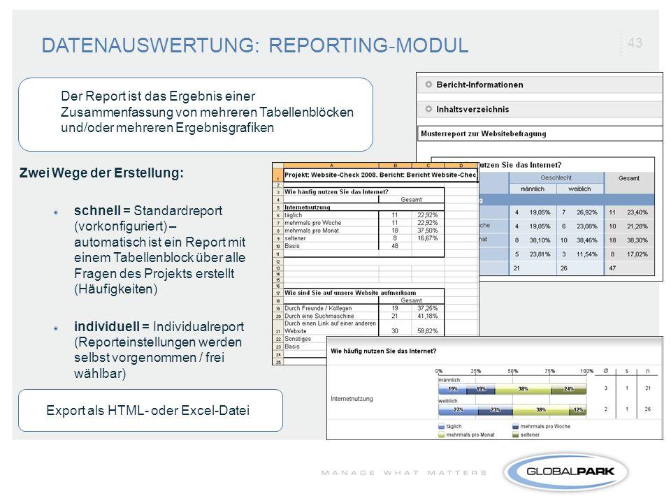 43 Zwei Wege der Erstellung: schnell = Standardreport (vorkonfiguriert) – automatisch ist ein Report mit einem Tabellenblock über alle Fragen des Proj