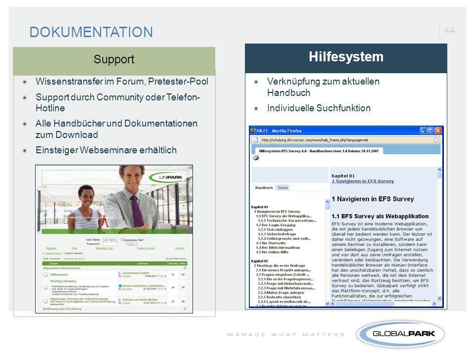 44 Verknüpfung zum aktuellen Handbuch Individuelle Suchfunktion Hilfesystem DOKUMENTATION Support Wissenstransfer im Forum, Pretester-Pool Support dur