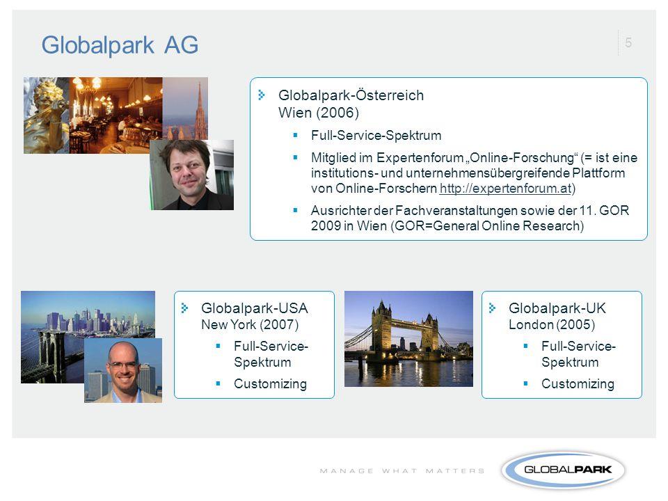 5 Globalpark-UK London (2005) Full-Service- Spektrum Customizing Globalpark-USA New York (2007) Full-Service- Spektrum Customizing Globalpark-Österrei