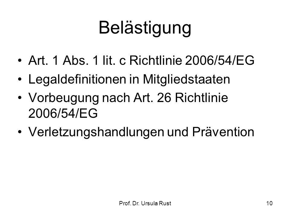 Prof. Dr. Ursula Rust9 Sexuelle Belästigung Vorläufer Empfehlung der Kommission mit Handbuch Art.