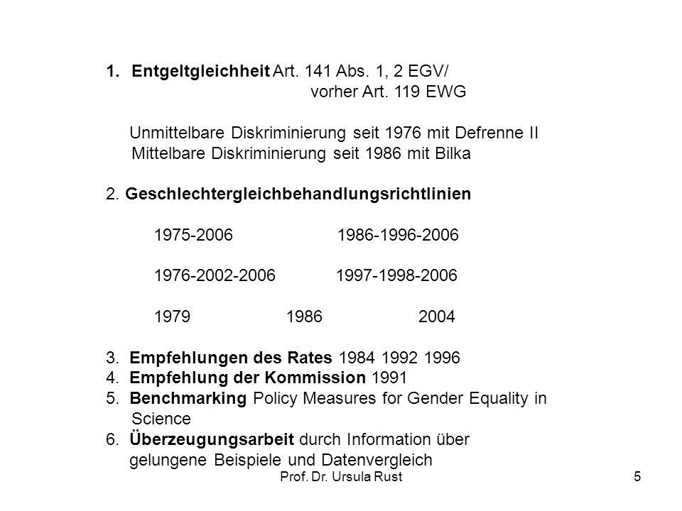 Prof.Dr. Ursula Rust5 1.Entgeltgleichheit Art. 141 Abs.