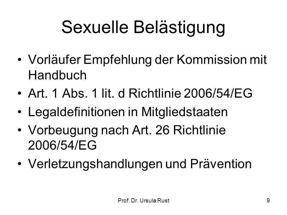 Prof.Dr. Ursula Rust9 Sexuelle Belästigung Vorläufer Empfehlung der Kommission mit Handbuch Art.