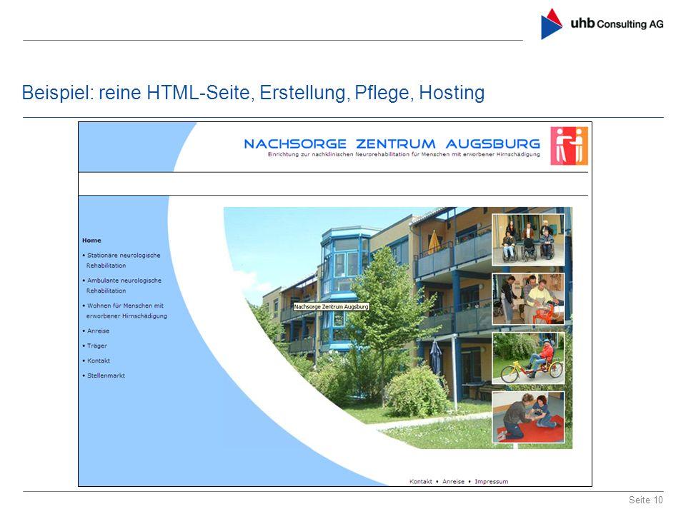 Beispiel: reine HTML-Seite, Erstellung, Pflege, Hosting Seite 10