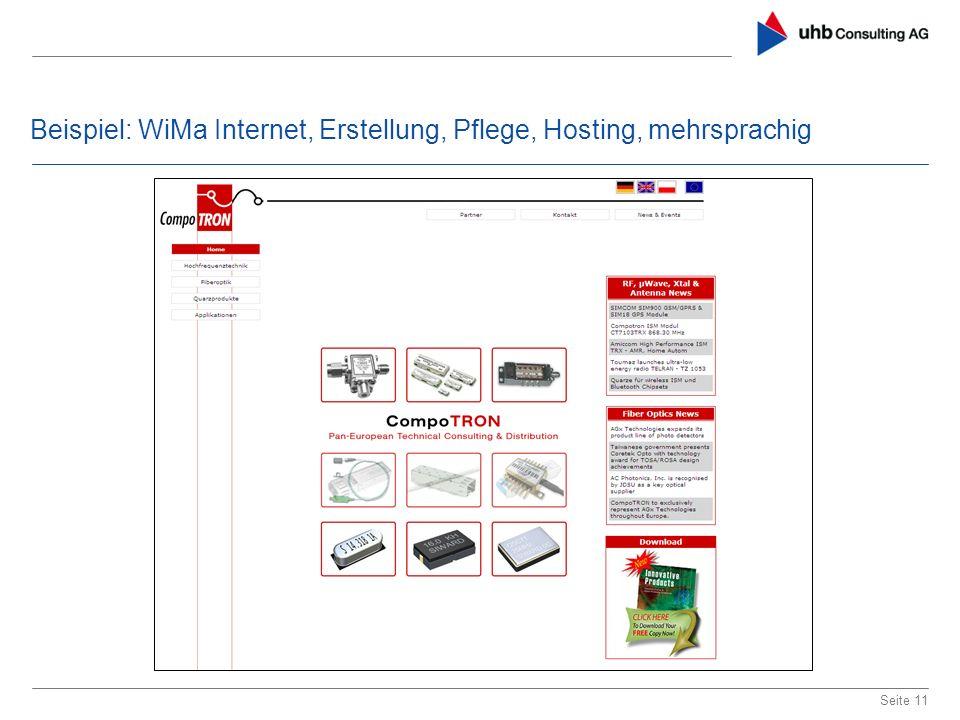 Beispiel: WiMa Internet, Erstellung, Pflege, Hosting, mehrsprachig Seite 11