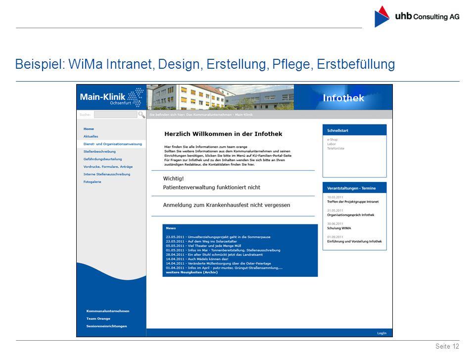 Beispiel: WiMa Intranet, Design, Erstellung, Pflege, Erstbefüllung Seite 12