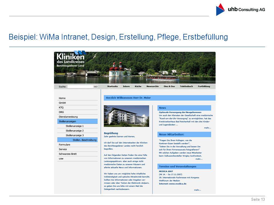 Beispiel: WiMa Intranet, Design, Erstellung, Pflege, Erstbefüllung Seite 13