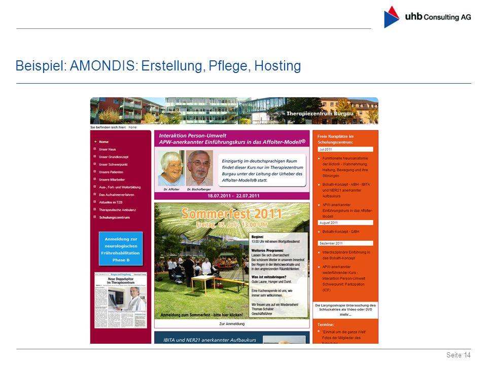 Beispiel: AMONDIS: Erstellung, Pflege, Hosting Seite 14