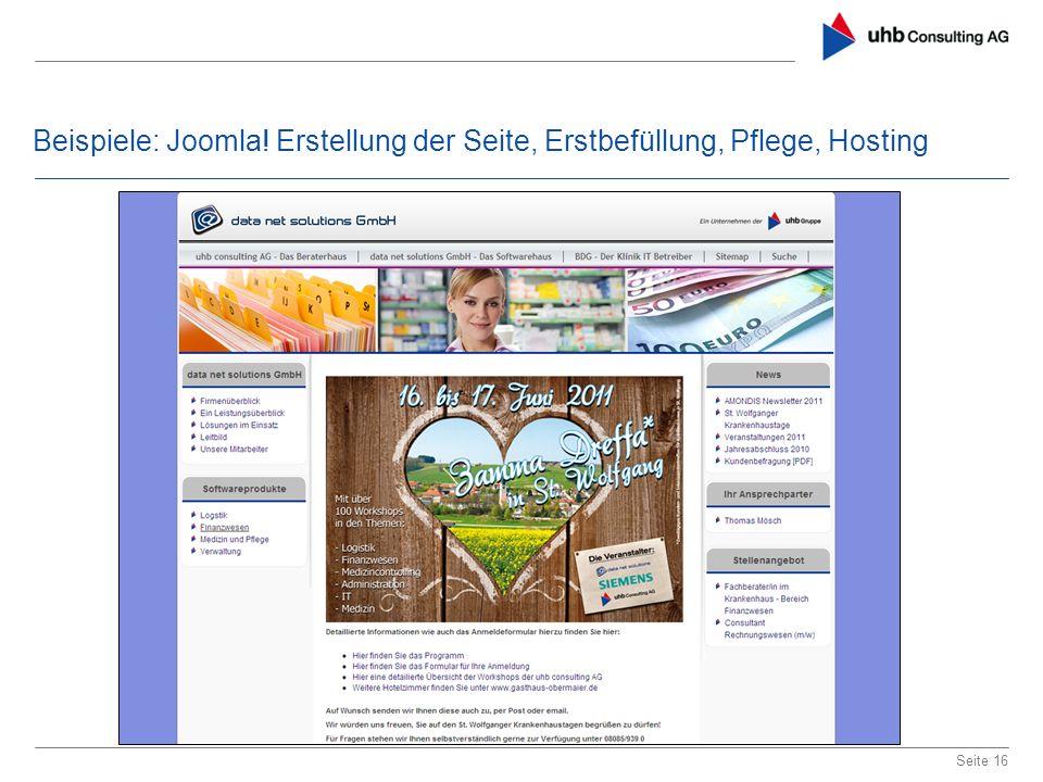 Beispiele: Joomla! Erstellung der Seite, Erstbefüllung, Pflege, Hosting Seite 16
