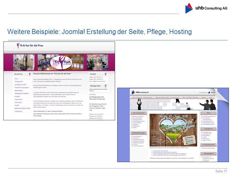 Weitere Beispiele: Joomla! Erstellung der Seite, Pflege, Hosting Seite 17