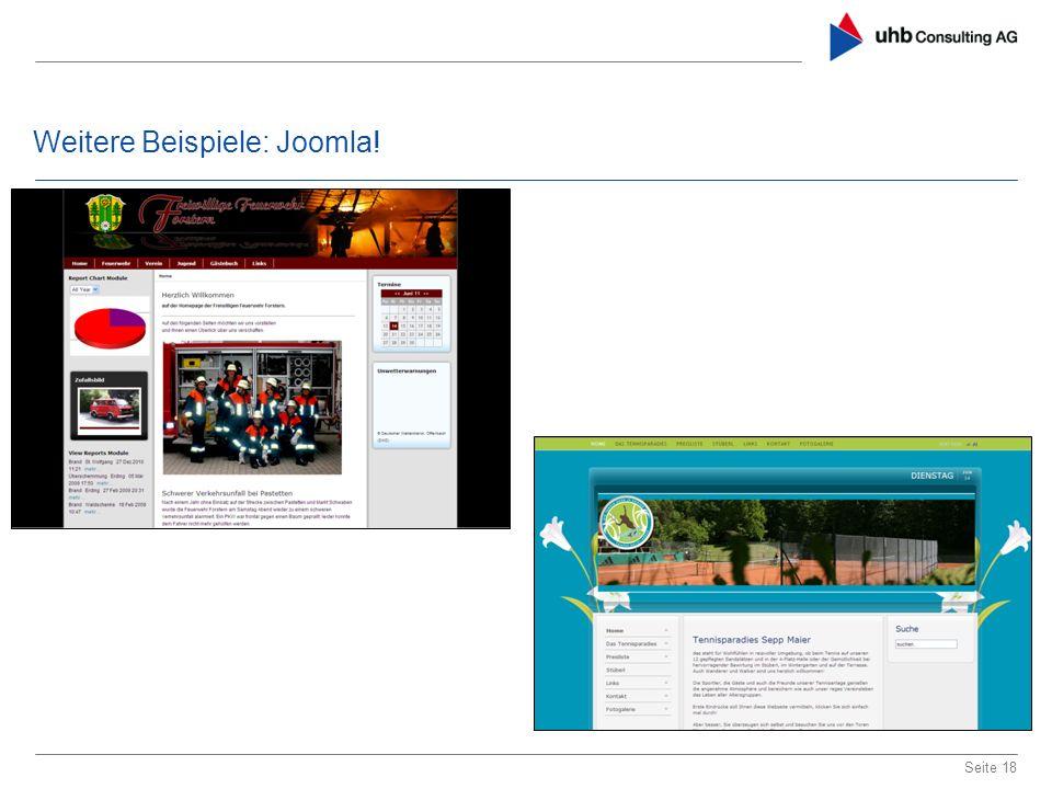 Weitere Beispiele: Joomla! Seite 18