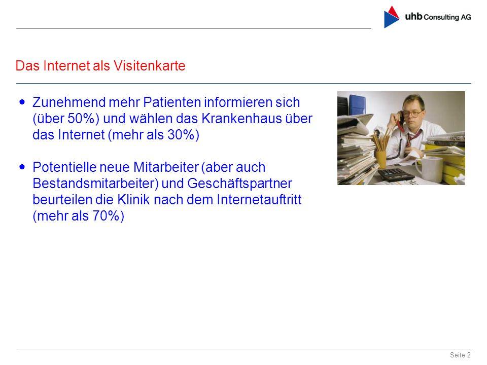 Das Internet als Visitenkarte Seite 2 Zunehmend mehr Patienten informieren sich (über 50%) und wählen das Krankenhaus über das Internet (mehr als 30%)