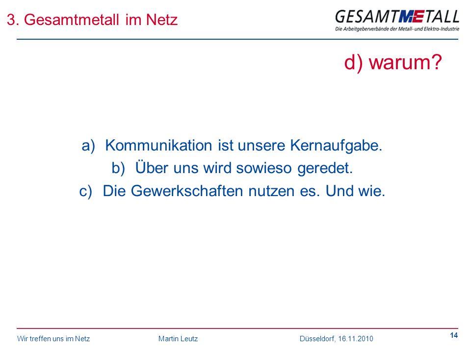 Wir treffen uns im NetzMartin Leutz Düsseldorf, 16.11.2010 14 d) warum? a)Kommunikation ist unsere Kernaufgabe. b)Über uns wird sowieso geredet. c)Die