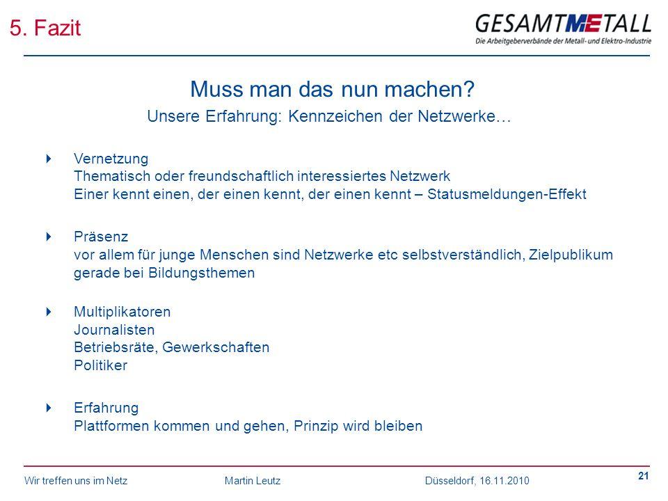 Wir treffen uns im NetzMartin Leutz Düsseldorf, 16.11.2010 21 5. Fazit Muss man das nun machen? Unsere Erfahrung: Kennzeichen der Netzwerke… Vernetzun