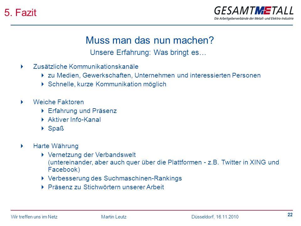 Wir treffen uns im NetzMartin Leutz Düsseldorf, 16.11.2010 22 5. Fazit Muss man das nun machen? Unsere Erfahrung: Was bringt es… Zusätzliche Kommunika